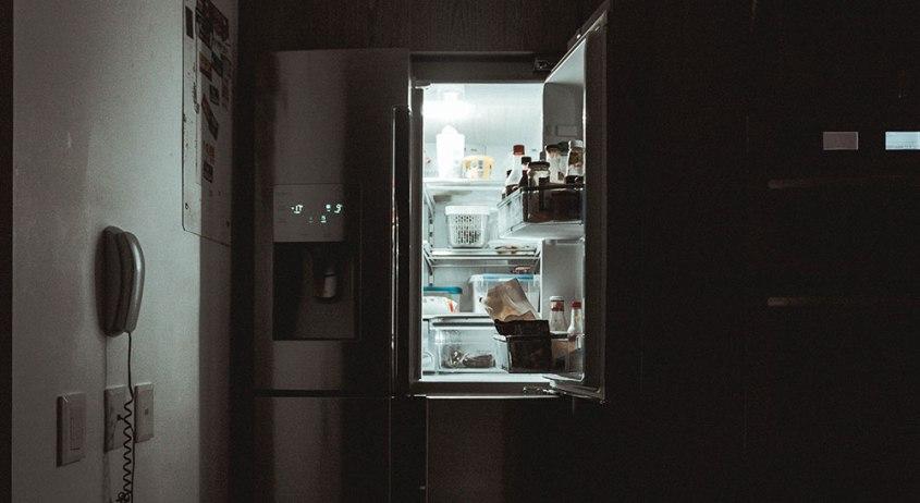 fridge in kitchen at night