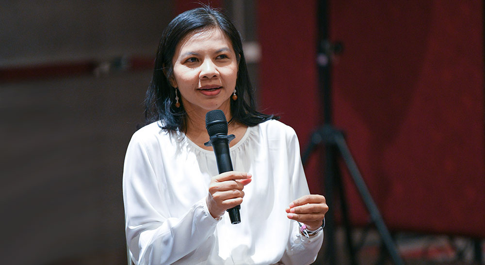 A Woman with Microphone