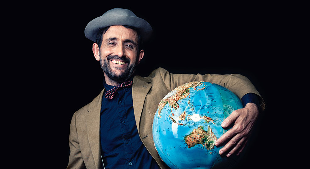 A man with a globe